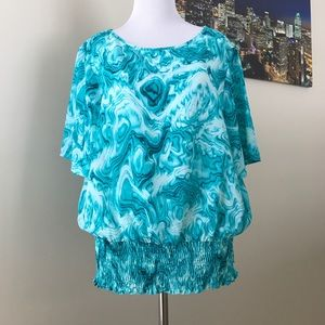 Michael Kors Blue/ White Pattern Blouse. Size L